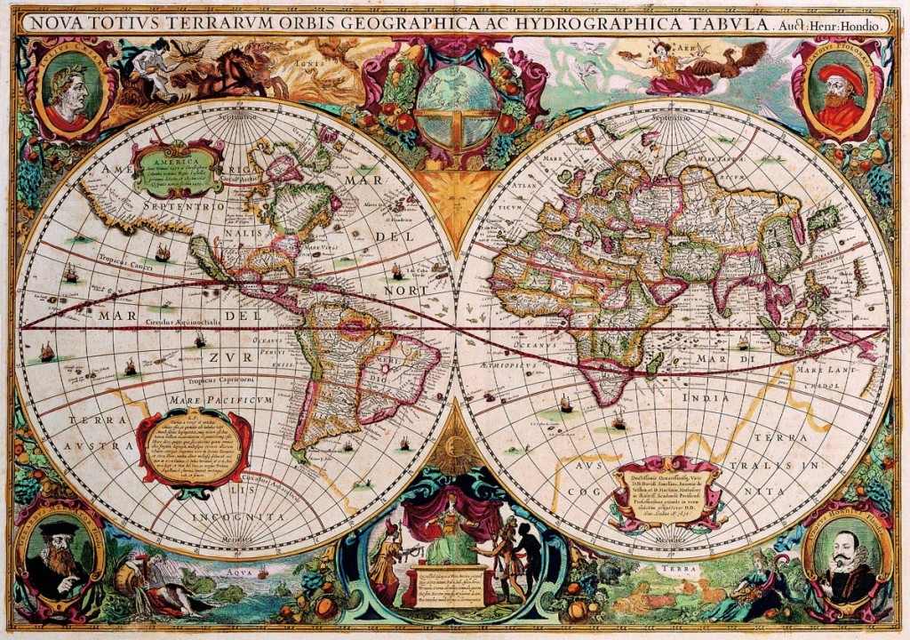 Double Hemisphere Map Henricus Hondius c 1630