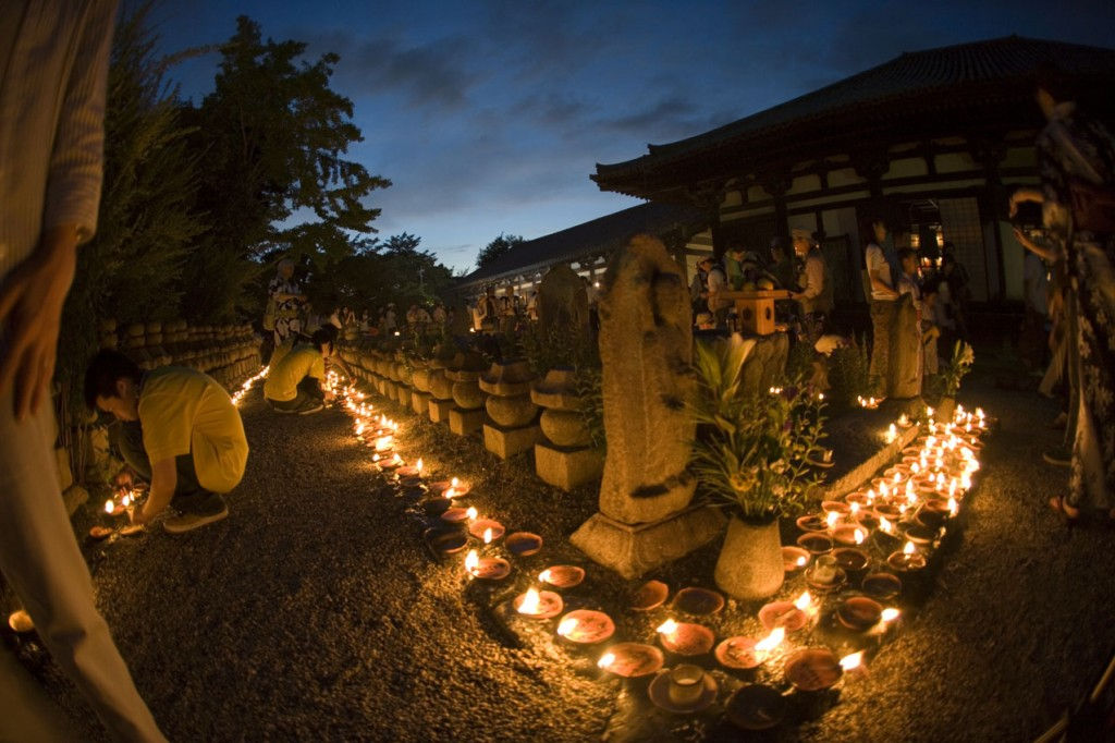 Jizōe (Festival of Thousand Votive Lights), Gangoōiji Temple, Nara, Japan